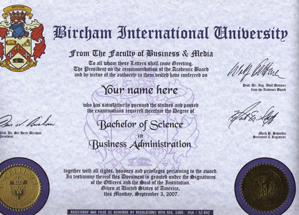 BIU Bachelor Diploma Sample