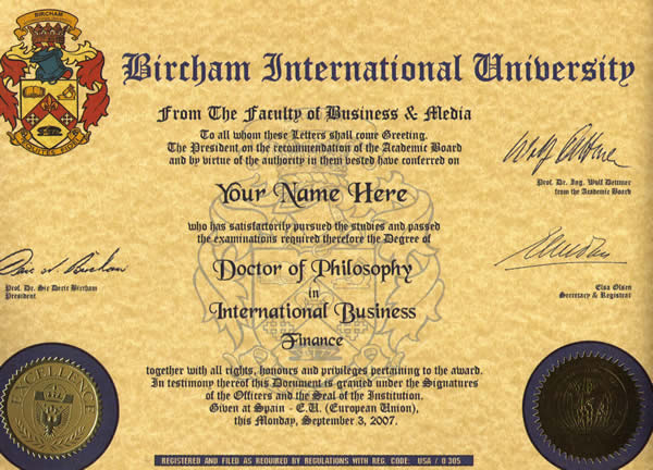 Doctorate BIU Diploma Sample